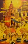 Vibrant Ghats of Varanasi - III, Painting by Anirban Seth