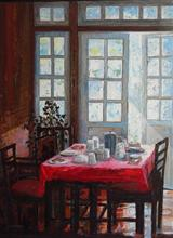 At the Lunch Table, Painting by Chitra Vaidya