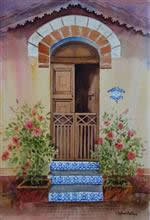 Door with Blue Steps, Painting by Chitra Vaidya