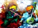 Musicians - V, Painting by Debjani Datta