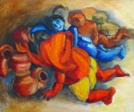 Ganesha Govinda the Gang, Painting by Milon Mukherjee
