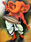 Ganesh in Rhythm, Painting by Milon Mukherjee