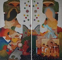 Ajanta Abstract I & II, Painting by Vijay Kulkarni