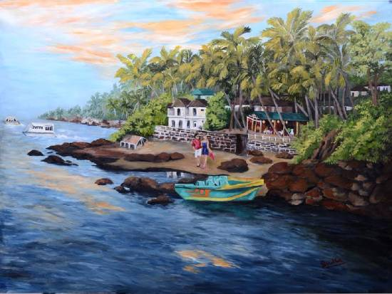 Dauna Paula Beach, painting by Sudha Srivastava, recently added to Indiaart.com