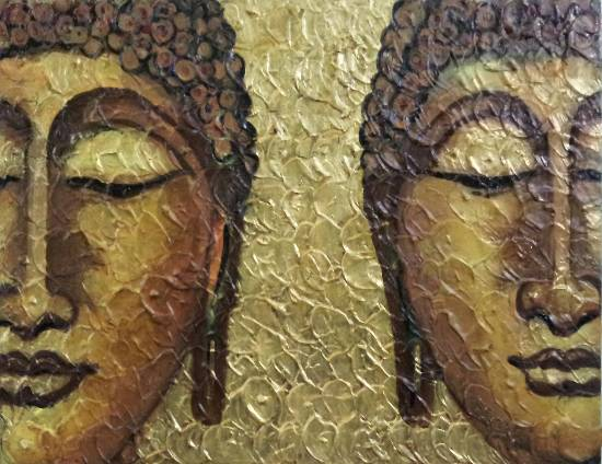 Buddha, painting by Amrita Banerjee, recently added to Indiaart.com