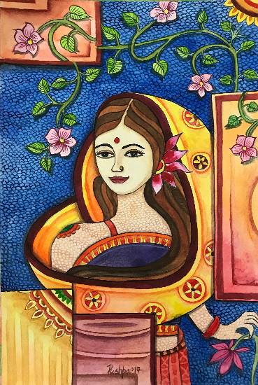Indian Woman with Madhubani Touch, painting by Pushpa Sharma, recently added to Indiaart.com