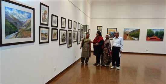 Chitra Vaidya with visitors at the art gallery at Nehru Centre, Mumbai