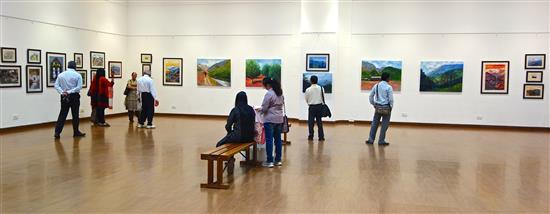 Visitors at the Art Gallery, Nehru Centre, Mumbai