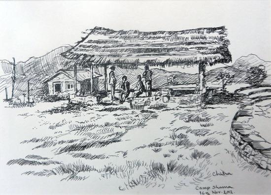 At Camp Shama, Kumaon , painting by Chitra Vaidya