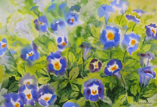 Blue Flowers - 1 , painting by Chitra Vaidya