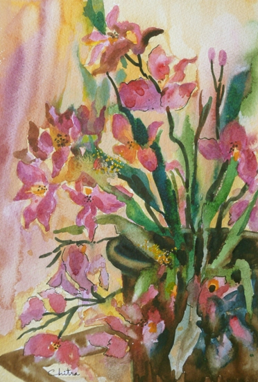 Orchids - 2 , painting by Chitra Vaidya