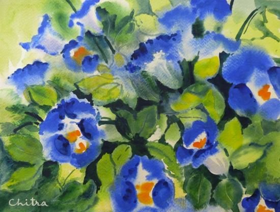 Blue Flowers - 2, painting by Chitra Vaidya