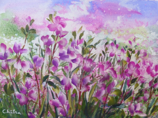 Pink Flowers - 2 , painting by Chitra Vaidya