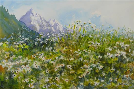 Flowers in the Mountains , painting by Chitra Vaidya