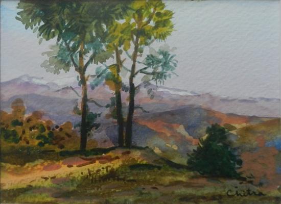 Kumaon Landscape - 6 , painting by Chitra Vaidya