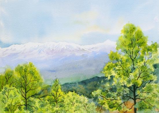 Kumaon Landscape - 4 , painting by Chitra Vaidya