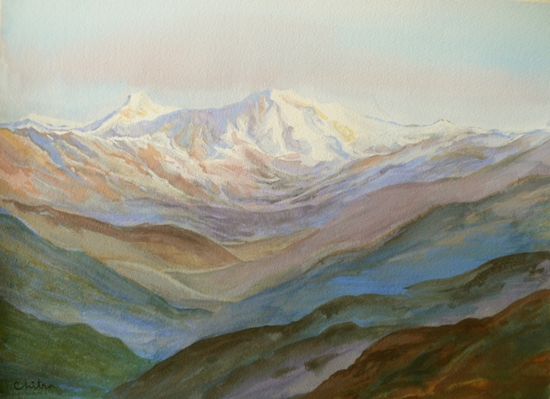 Kumaon Mountains - 13 , painting by Chitra Vaidya