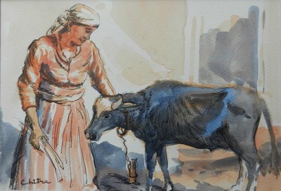 Kumaoni People - 1, painting by Chitra Vaidya
