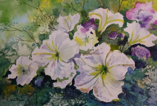 White Flowers - 1 , painting by Chitra Vaidya