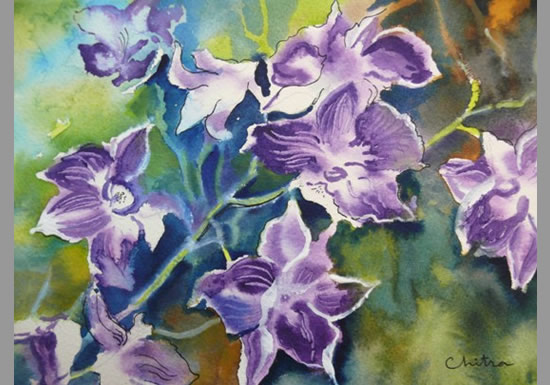 Orchids - 1 , painting by Chitra Vaidya