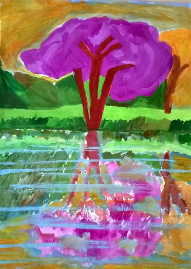 Reflection, painting by Aabha Pawar