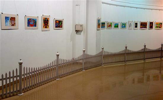 View of the paintings displayed