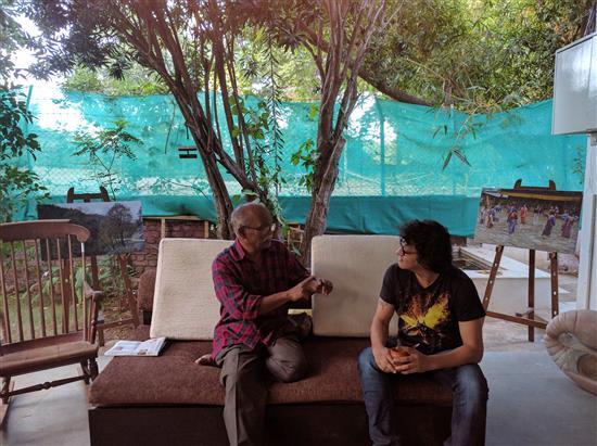 Artist Kishor Randiwe in conversation with Yatin Gadgil at Indiaart Gallery