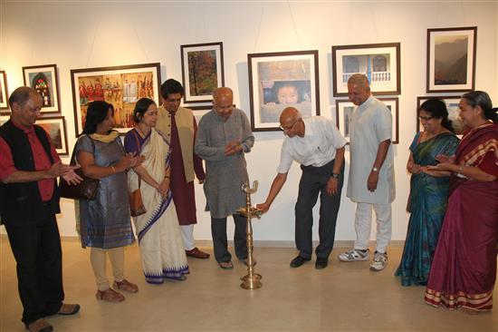 At the inauguration of Milind Sathe's photography show at Indiaart Gallery (L to R) Milind Sathe, Smt. Ganesh, Smt. Mangala Narlikar, Dr. Somak Raychaudhury, Dr. Jayant Narlikar