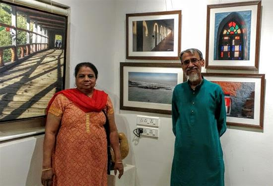 Dr. Ashok Nirpharake with Smt. Nirpharake at Milind Sathe's photography show at Indiaart Gallery