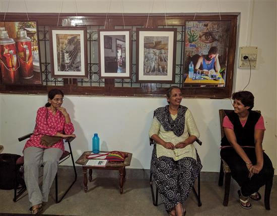 (L to R) Manisha Joshi, Bageshree Ponkshe, Jui Kemkar at Indiaart Gallery