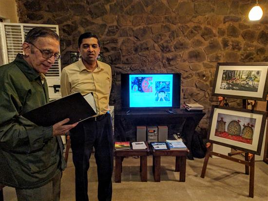(L to R) Shri. Suhas Bhome, Dr. Shreerang Godbole at Indiaart Gallery