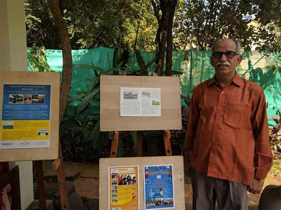 Shri. Suhas Phatak at Indiaart Gallery. He volunteers for Jnana Prabodhini, Harali