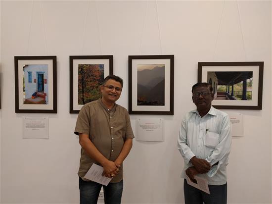 (L to R) Shri. Ansari and Shri. Rampure at Milind Sathe's solo photography show at Nehru Centre, Worli, Mumbai (August 2016)