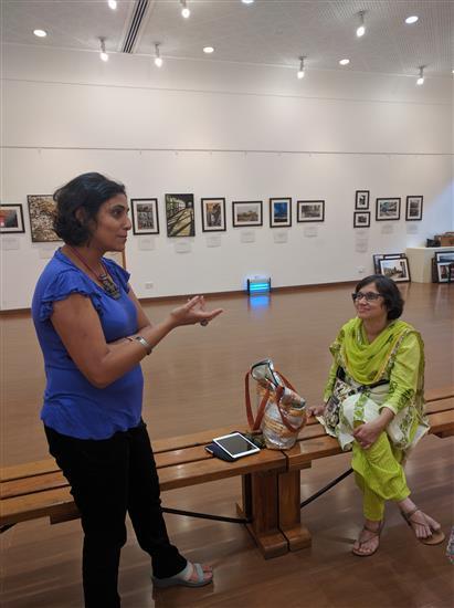 Artist Ami Patel and Gauri Ketkar at Milind Sathe's solo photography show at Nehru Centre, Worli, Mumbai (August 2016)