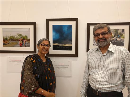 Artist Vipta Kapadia and Mr. Kapadia at Milind Sathe's solo photography show at Nehru Centre (August 2016)