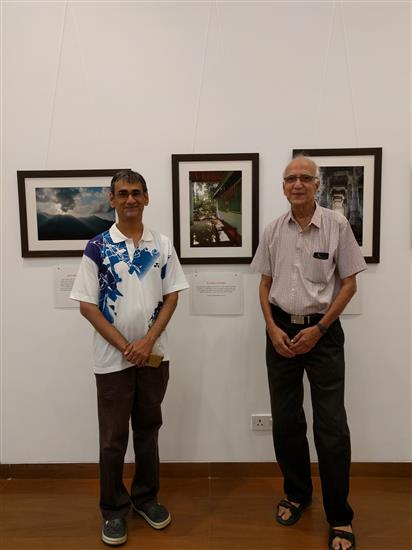 Badminton coach Mr. Manohar Godse with son Jayant at Milind Sathe's solo photography show at Nehru Centre, Worli, Mumbai (August 2016)