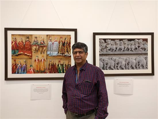 Dr. Madhav Sathe at Milind Sathe's solo photography show at Nehru Centre, Worli, Mumbai (August 2016)