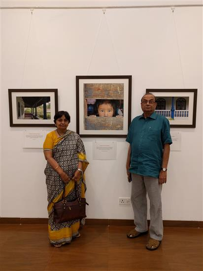 Dr. Shaila and Mr. Ramakrishna Telang at Milind Sathe's solo photography show at Nehru Centre, Worli, Mumbai (August 2016)