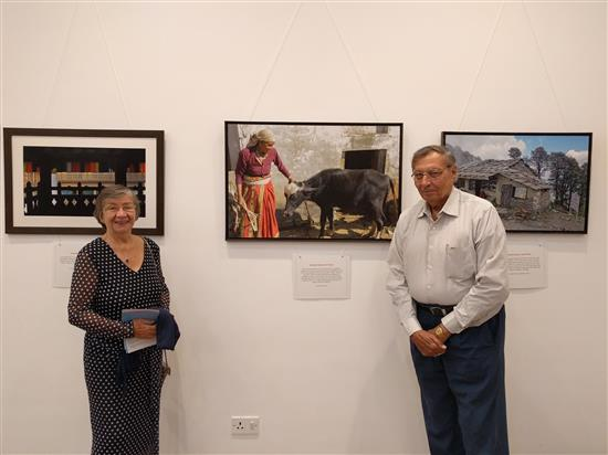 Elinor and Dr. F. D. Mirza at Milind Sathe's solo photography show at Nehru Centre, Worli, Mumbai (August 2016)