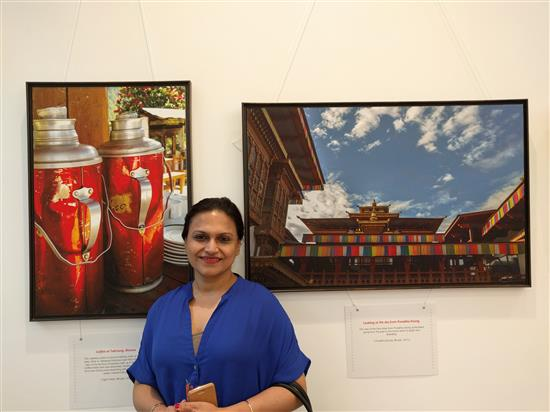 Food writer and artist Ananya Banerjee at Milind Sathe's solo photography show at Nehru Centre, Worli, Mumbai (August 2016)