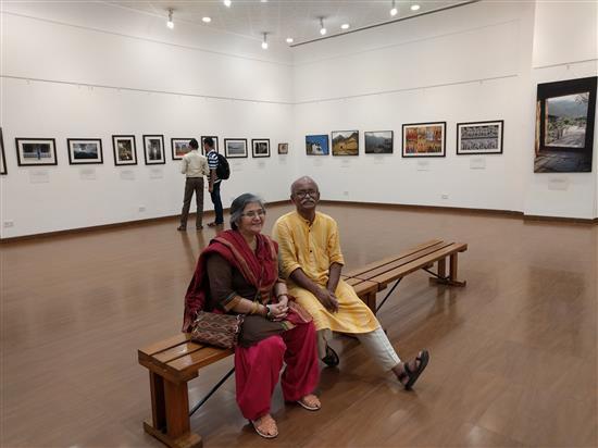 Kishor and Varsha Randiwe at Milind Sathe's solo photography show at Nehru Centre, Mumbai (August 2016)