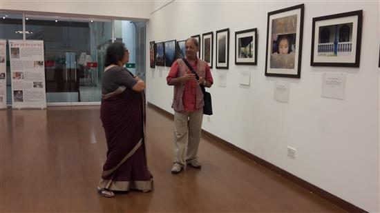 Milind Sathe taking Mrs. Nina Rege through a tour of the show
