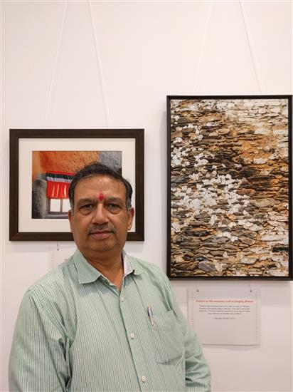 Mr. C. S. Ojha at Milind Sathe's solo photography show at Nehru Centre, Worli, Mumbai (August 2016)