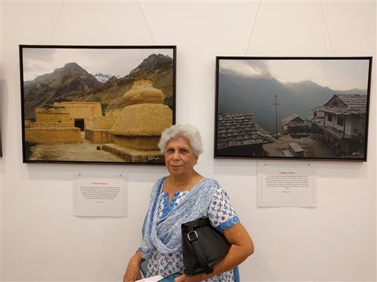 Mrs. Malti Kelkar at Milind Sathe's solo photography show at Nehru Centre, Mumbai (August 2016)