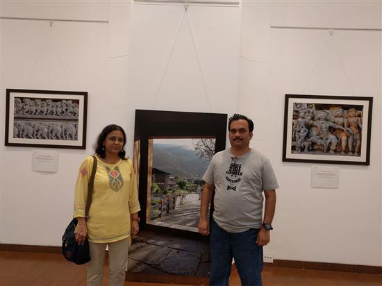 Mrudula and Ninad Bapat at Milind Sathe's solo photography show at Nehru Centre Art Gallery, Worli, Mumbai (August 2016)