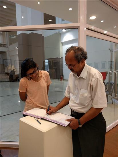 Prof. Yashwant Pitkar at my show at Nehru Centre, Mumbai