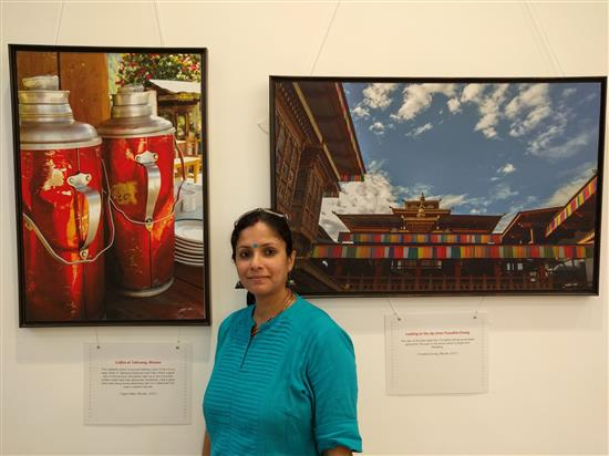 Wellness consultant and artist Yogini Sharma at Milind Sathe's solo photography show at Nehru Centre, Worli, Mumbai - August 2016