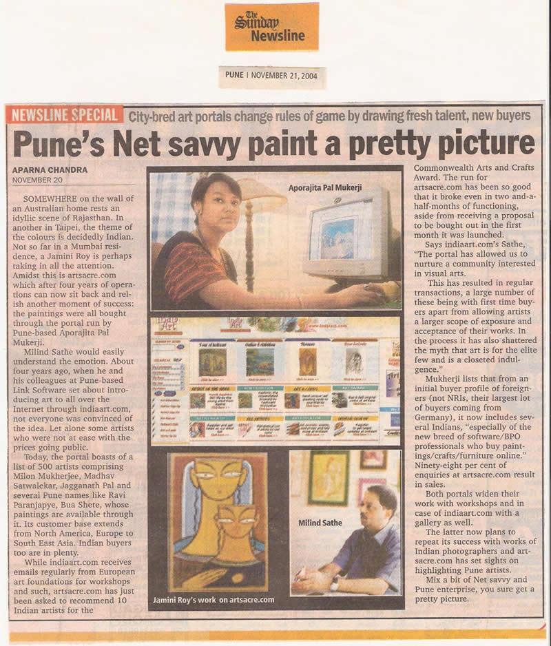 Art Portal www.Indiaart.com, Sunday Newsline