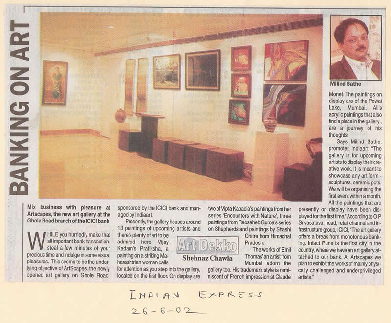 Banking on Art, Indian Express