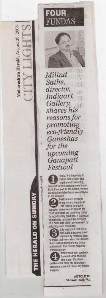 Four Fundas - Eco Friendly Ganeshas, Maharashtra Herald
